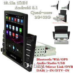 10.1In 1DIN Android 8.1 Car GPS Sat Navi Bluetooth Radio Wifi Multimedia Player
