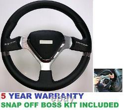 Black Steering Wheel And Snap Off Boss Kit For 36 Spline Land Rover Defender New