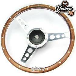 Classic Car 15 Semi Dished Riveted Light Wood Rim Steering Wheel & Boss Kit