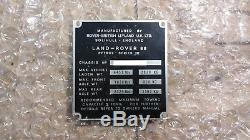 Land Rover 88 Series 3 III 1974 Tax Exempt V5 Log Book V5C & Chassis Tag Plate