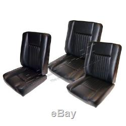 Land Rover Series 2, 2a & 3 New Black Deluxe Vinyl Front Seats Seat Set Da4298