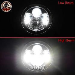 PAIR LED BLACK Headlights RHD E MARKED 7 H4 for Land Rover Defender 90 110